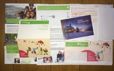 SOS Kinderdörfer: Umfangreiche Werbesendung - nicht nachhaltig.