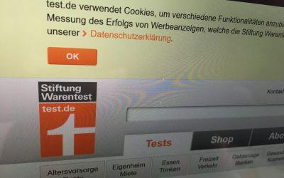 Screenshot des Cookie Banners auf Stiftung Warentest test.de, der nur den OK-Button und Test-Logo zeigt.