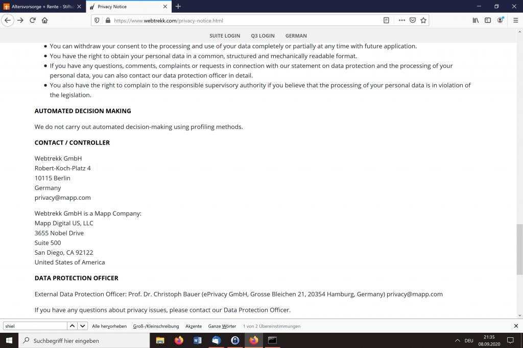 Screenshot der zeigt, dass Webtrekk ist ein US-amerikanisch kontrolliertes Unternehmen ist.